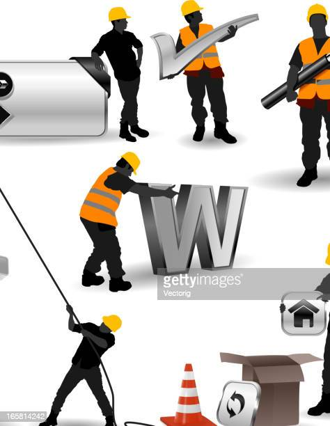 website construction - contractor stock illustrations, clip art, cartoons, & icons