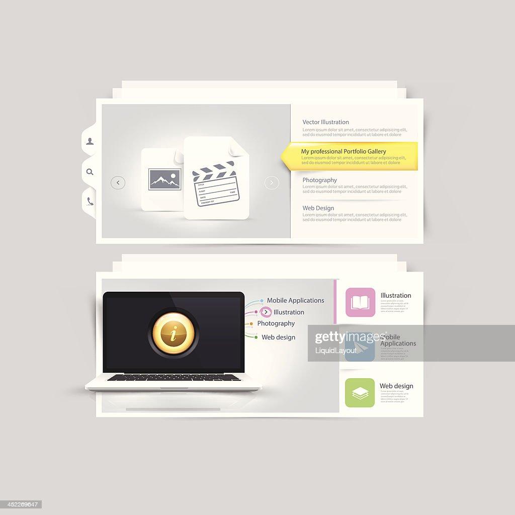 Website design elements: Vcart Portfolio template
