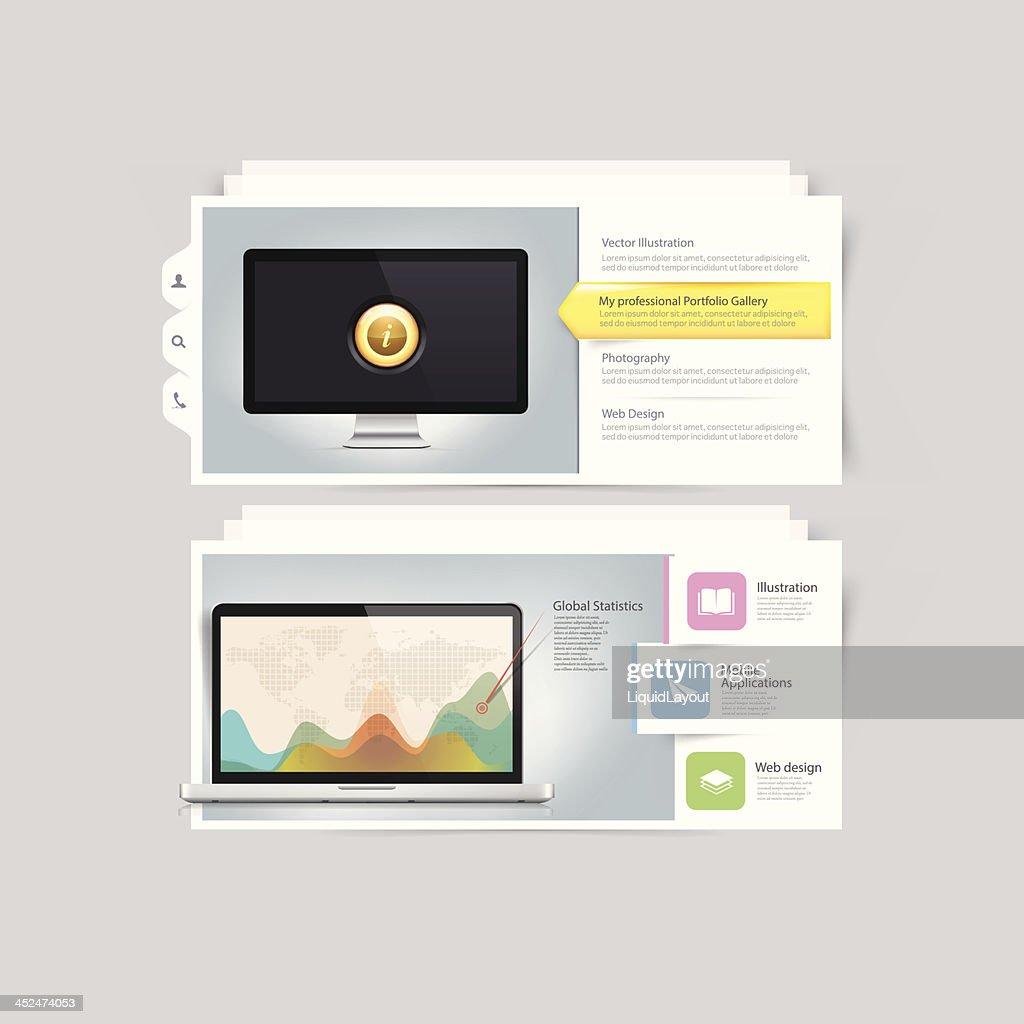 Website design infographics elements: Vcard portfolio template.