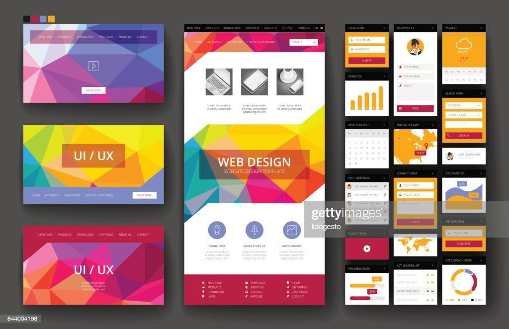 Website design template and interface elements