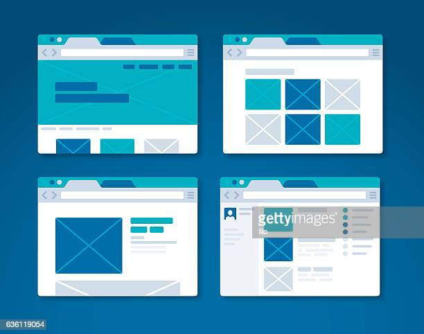 website design wireframe internet browser - web page stock illustrations
