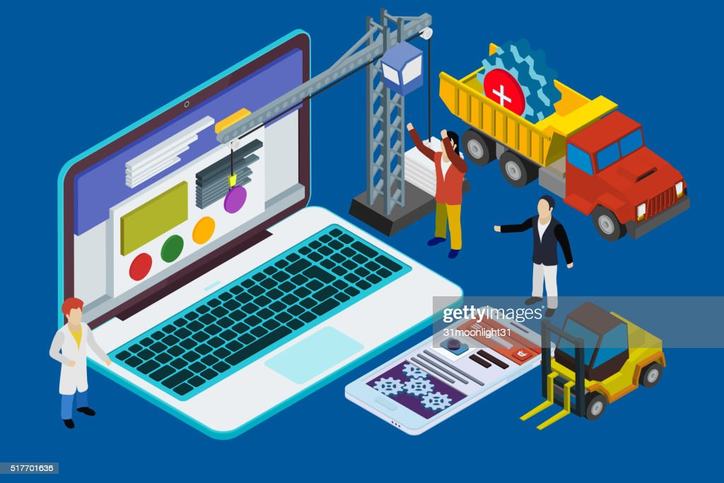Website development, experienced team. Flat 3d isometric : stock illustration