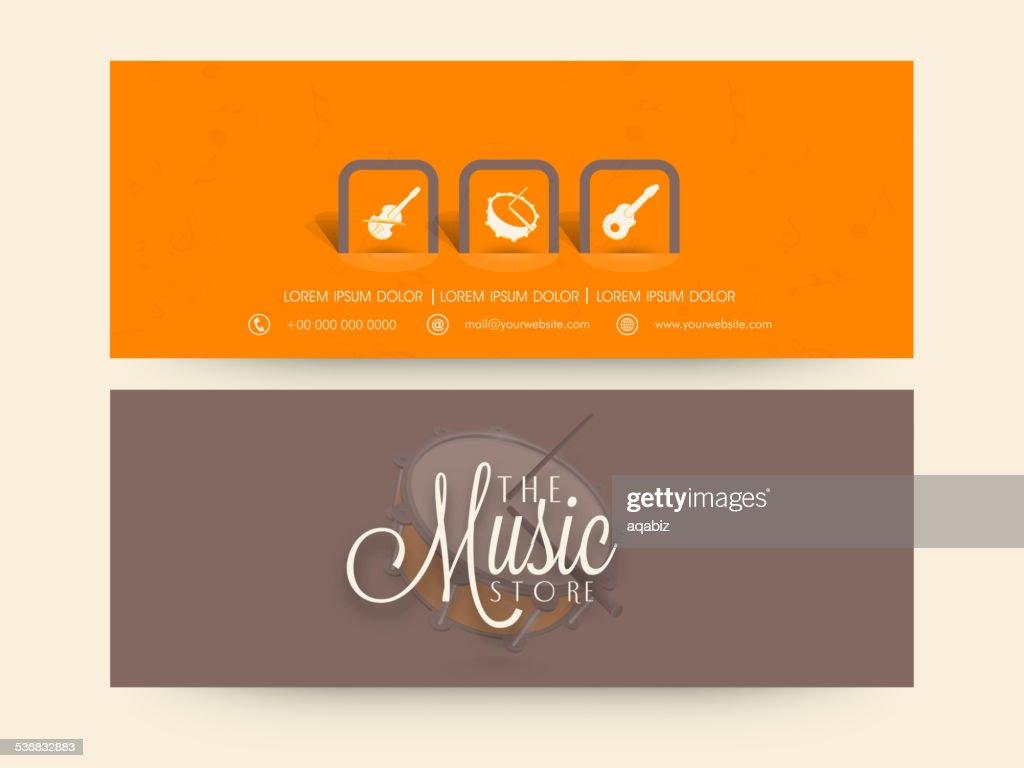 Website header or banner set for music store.