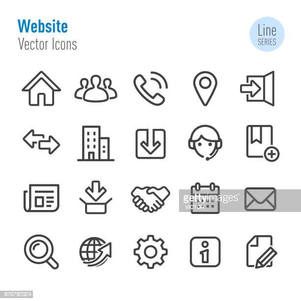 website icons - vector line series - group of objects stock illustrations