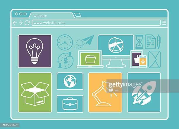 ウェブサイトのレイアウト - ホームページ点のイラスト素材/クリップアート素材/マンガ素材/アイコン素材