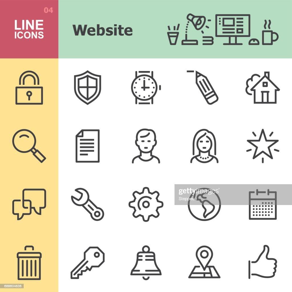 Iconos de línea sitio web : Ilustración de stock