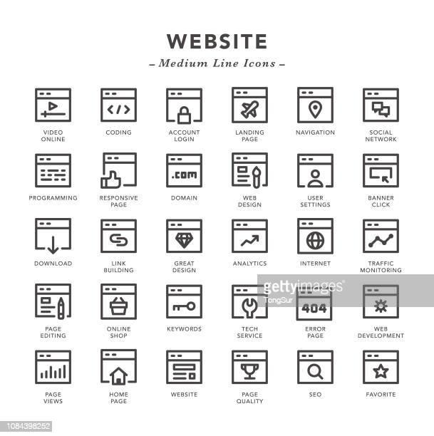 website - medium line icons - landing page stock illustrations