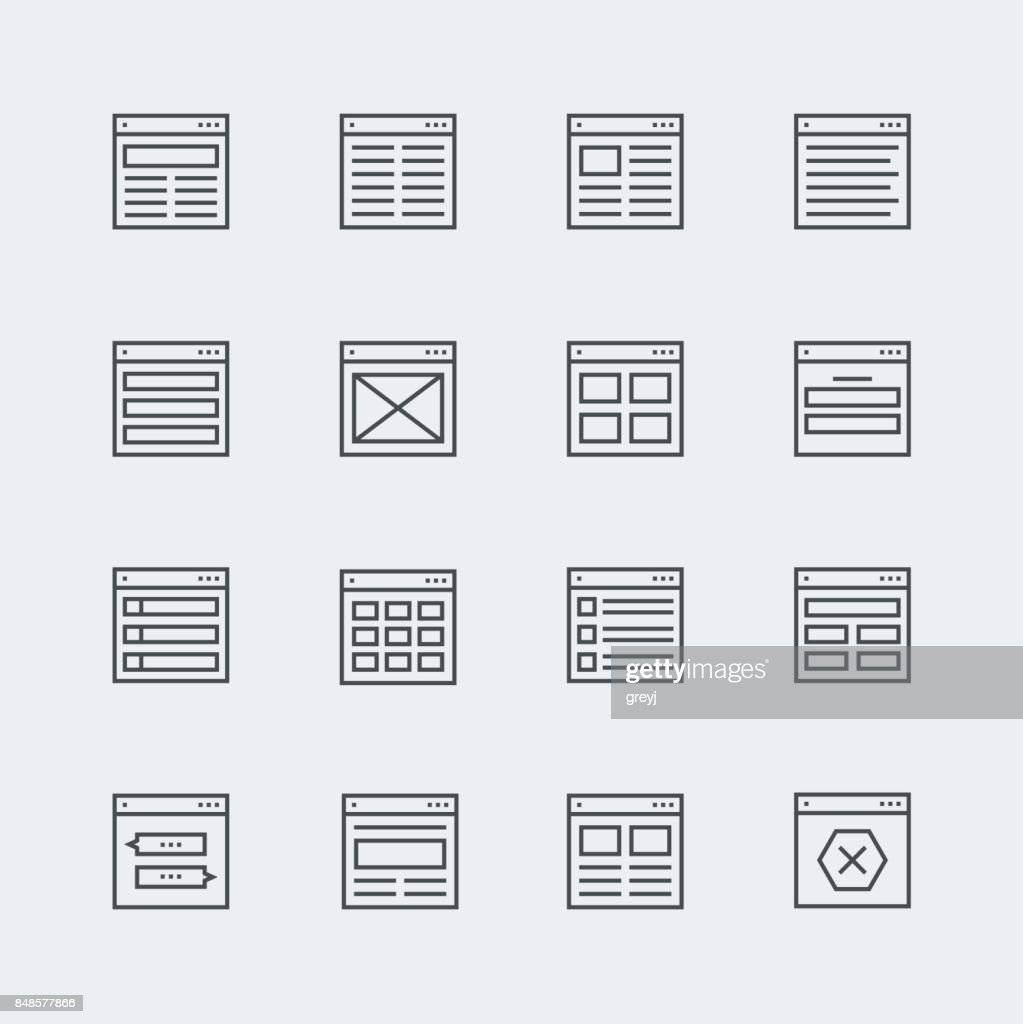 Website or application wireframe template and design layout icons in thin line style