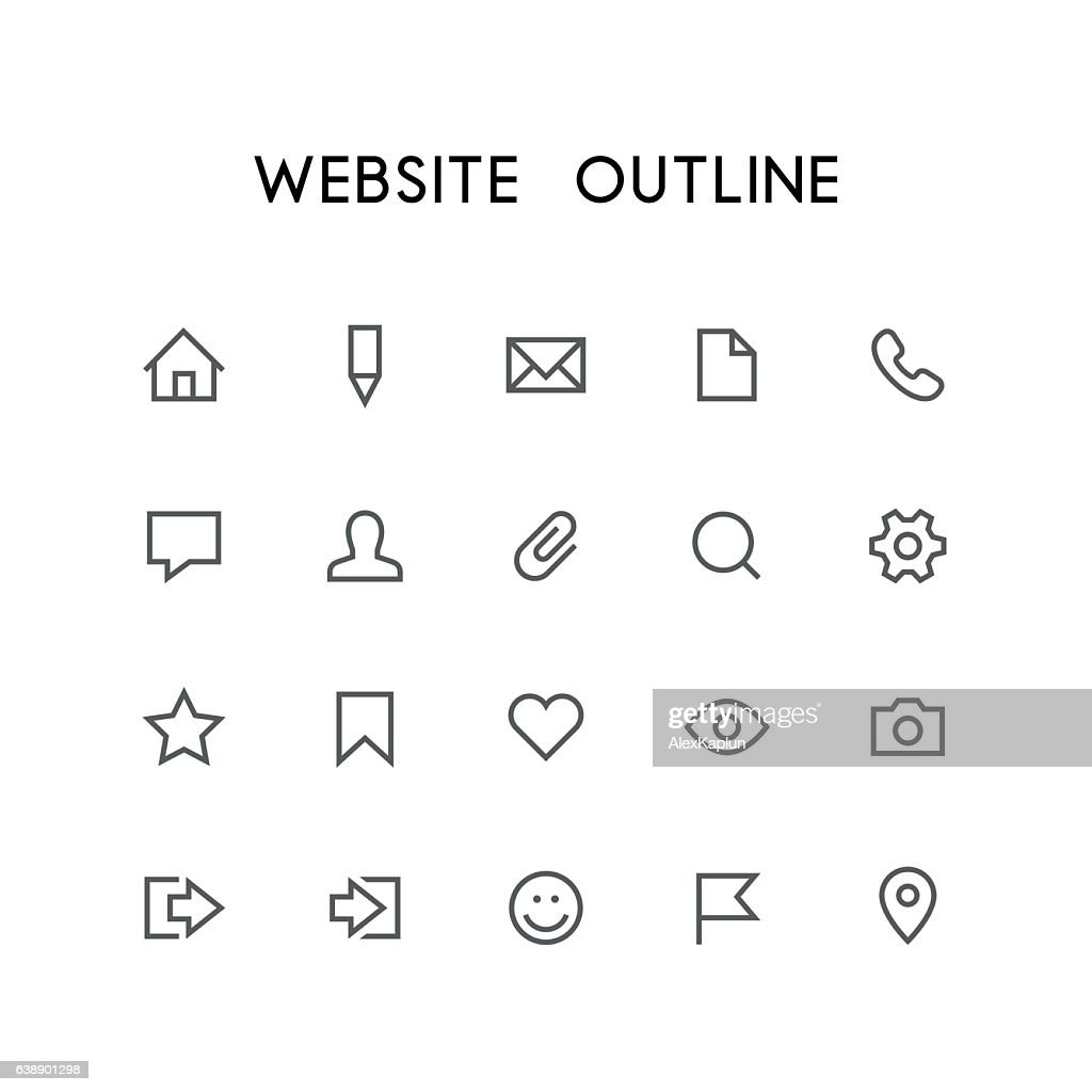 Website outline icon set