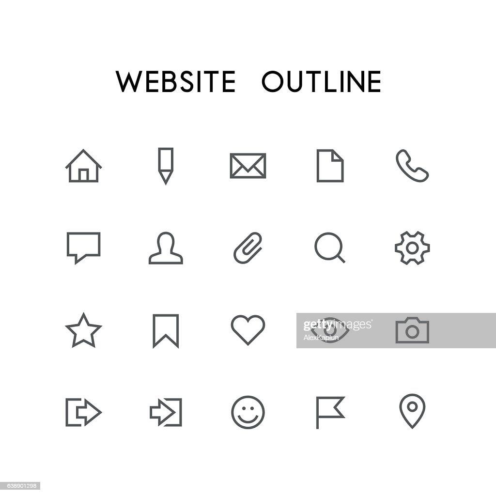Website outline icon set