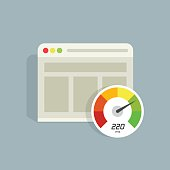 Website speed loading time vector icon, web browser seo analyzer