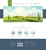 Website Template and Landscape Header with Wind Turbines.
