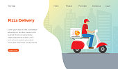 Website template design for pizza restaurant. Modern design for pizza delivery concept. Vector illustration.