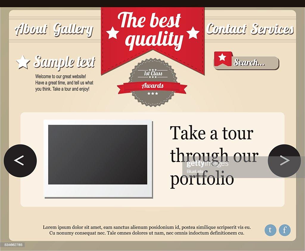 Website template elements, vintage style
