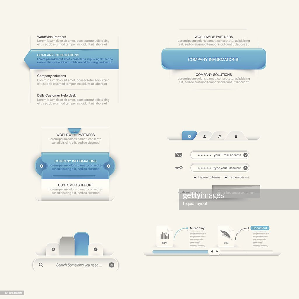 Website template infographic design menu navigation elements with icons set