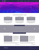 Website template. Modern flat style with blue banner.