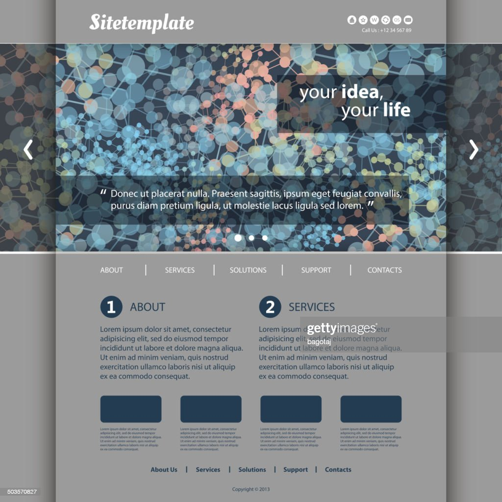 Website Template with Colorful Abstract Networks Header Design