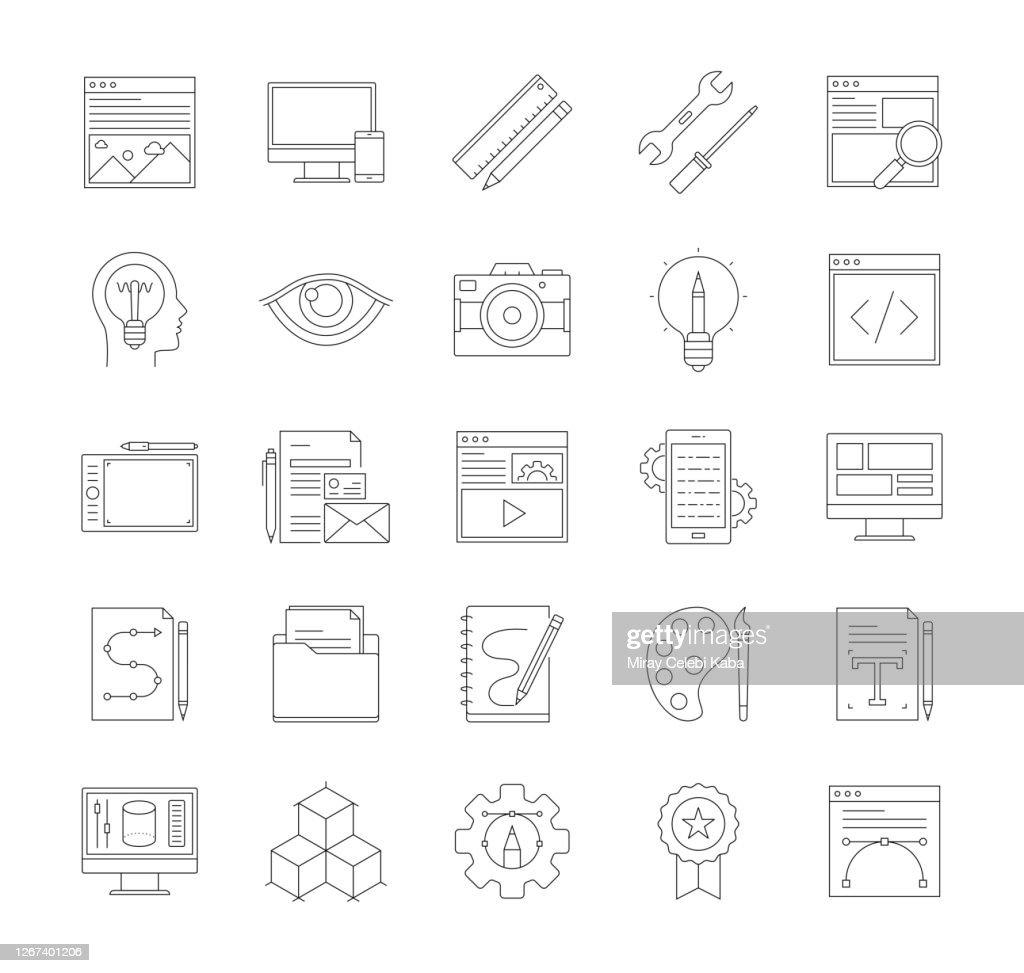 ウェブサイトの細線アイコンセット : ストックイラストレーション