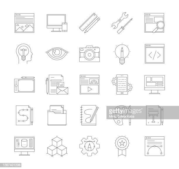 ウェブサイトの細線アイコンセット - ホームページ点のイラスト素材/クリップアート素材/マンガ素材/アイコン素材