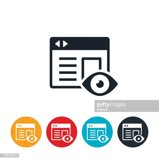 illustrazioni stock, clip art, cartoni animati e icone di tendenza di icona visualizzazioni sito web - guardare il paesaggio