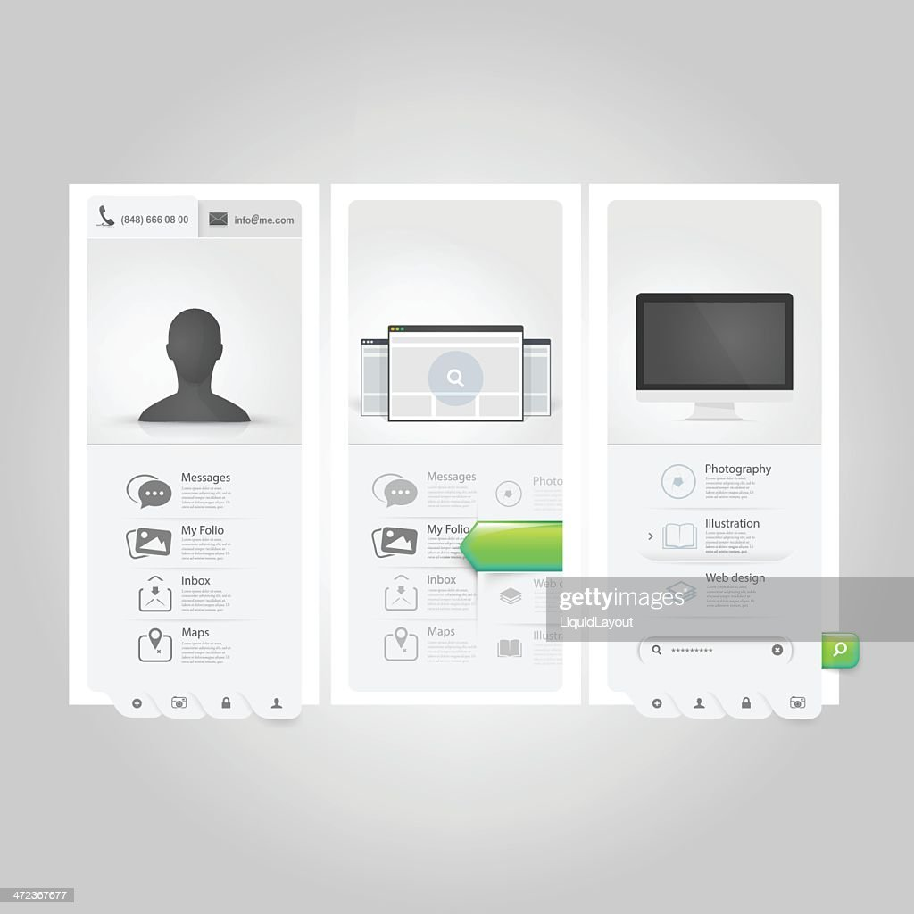 Webste template Ui elements: Personal Vcard portfolio with icons