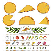 WebVector Pizza constructor creator illustration with various ingredients cheese and tomato in pizzeria