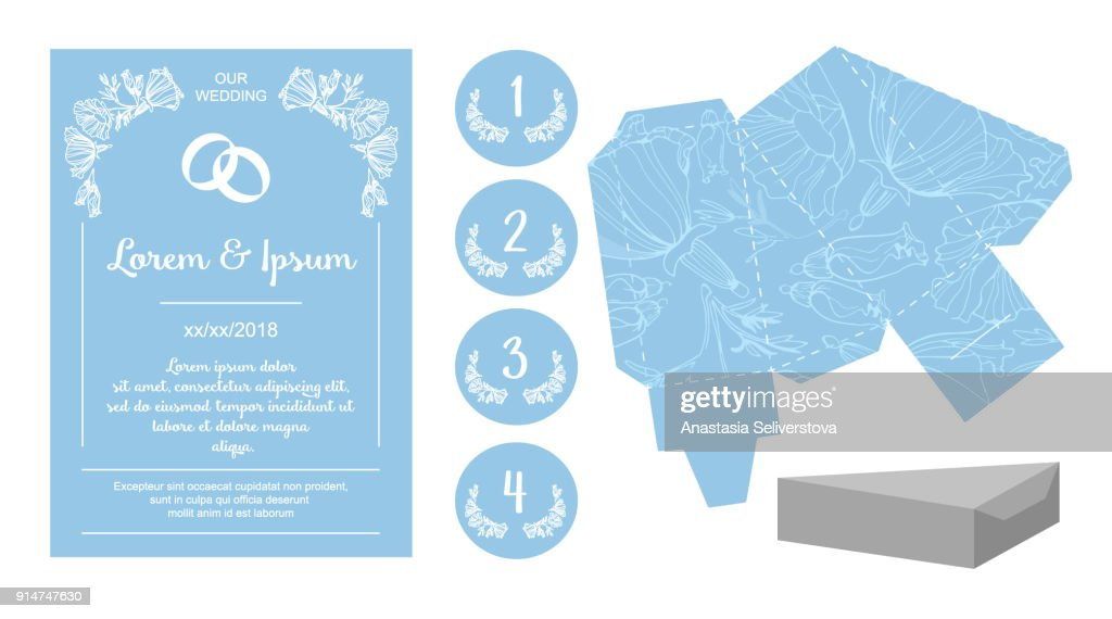 Wedding accessories set: invitation, pattern for gift boxes, name plates for Seating char