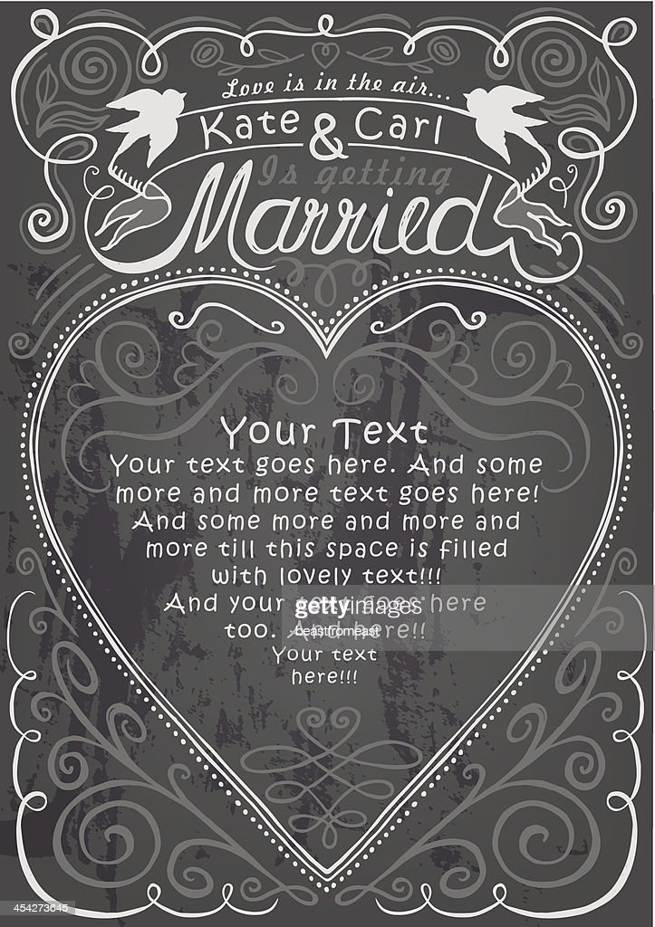 Wedding And Engagement Party Invitation On Chalkboard ...