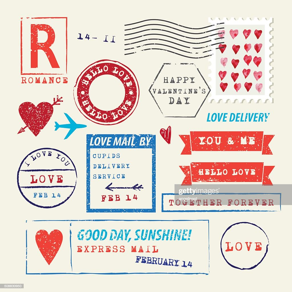 Wedding and Valentine's Day stamp set. Love symbols