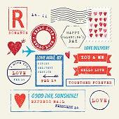 Wedding and Valentine's Day stamp set. Love symbols