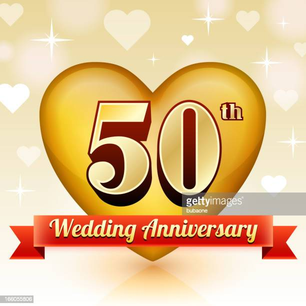 stockillustraties, clipart, cartoons en iconen met wedding anniversary badge red and gold collection background - 50 jarig jubileum