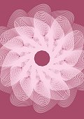Wedding background template with white outline fantasy flower shape on dark pink area