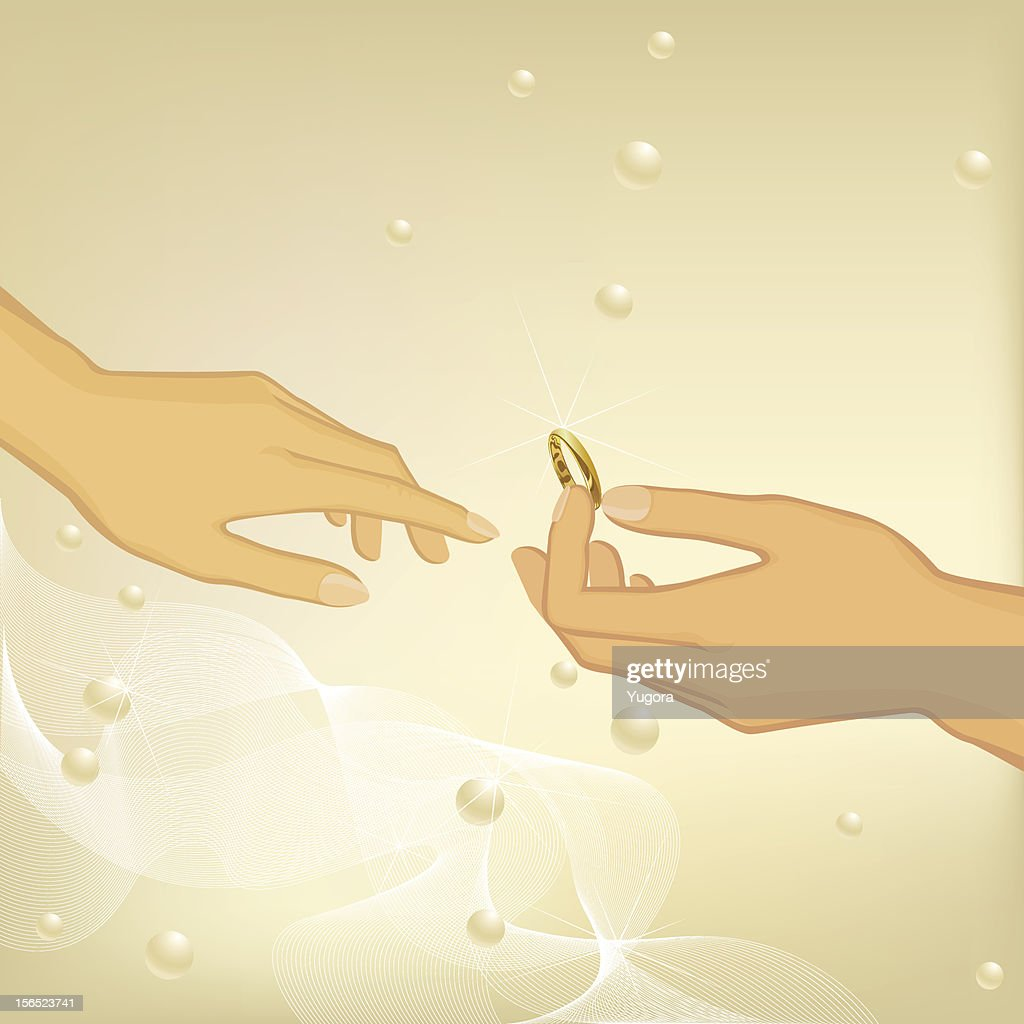 Wedding Background With Male Hand Giving Girl A Gold Ring Vector ...