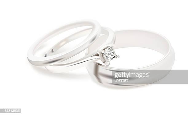 wedding bands - vector illustration - white gold stock illustrations