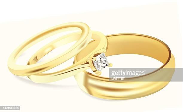 wedding bands - vector illustration - wedding ring stock illustrations