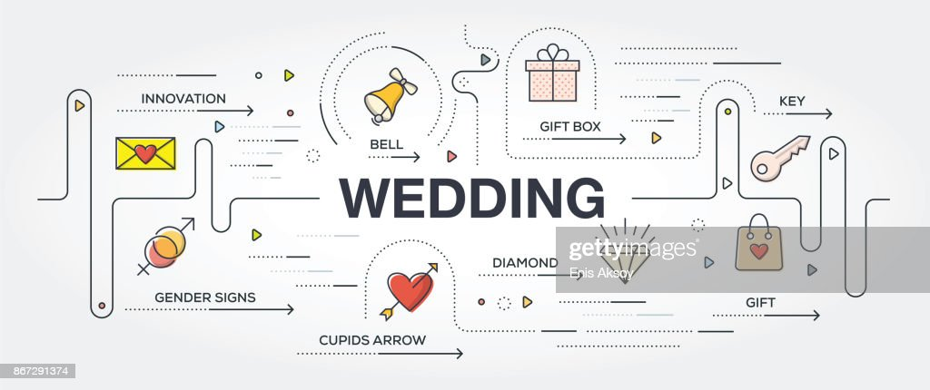 Wedding banner and icons : stock illustration