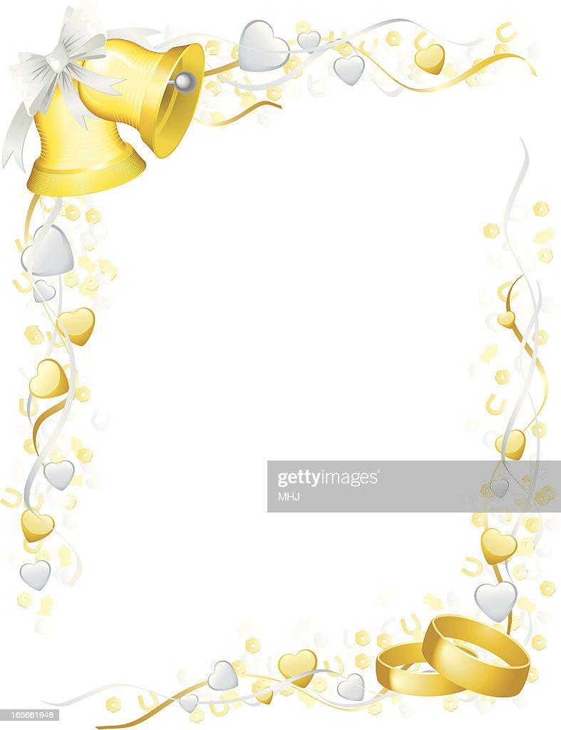 Wedding Bells Rings Frame With Hearts And Confetti Horizontal