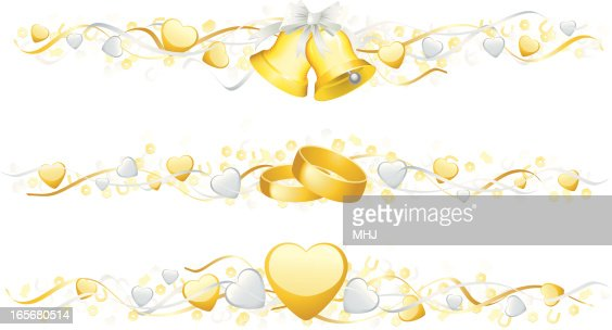 Wedding Bells Rings Three Banners With Hearts And Confetti Horizontal Vector Art