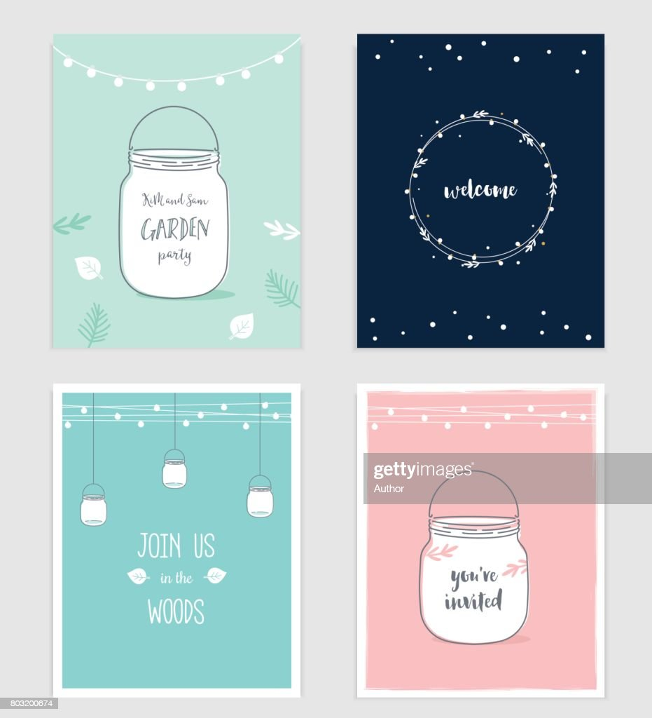 Wedding, Birthday, Shower Party Invitations with Mason Jars and Festoon Lights Garlands.