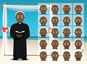 Wedding Black Priest Cartoon Emotion faces Vector Illustration