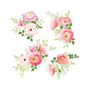 Wedding bouquets of roses, magnolia, ranunculus vector design elements