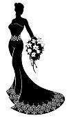 Wedding Bride Silhouette Bouquet