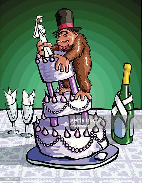 wedding cake ape - making a cake stock illustrations, clip art, cartoons, & icons