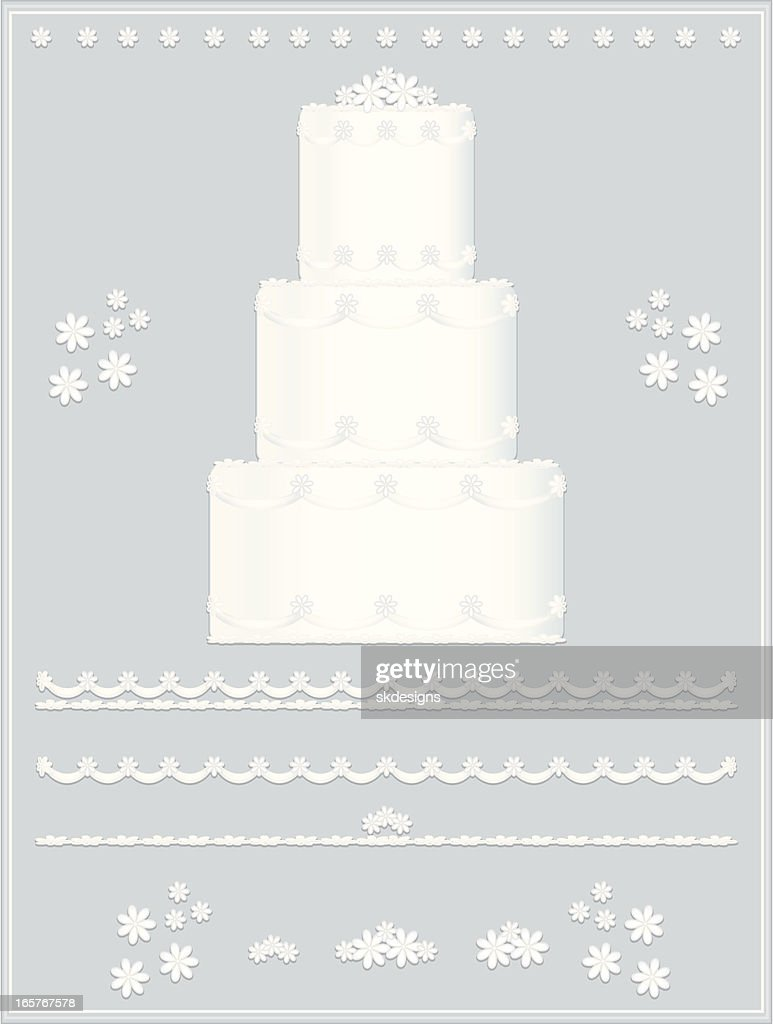 Wedding Cake Design Set White Flowers Sashes Borders Background ...