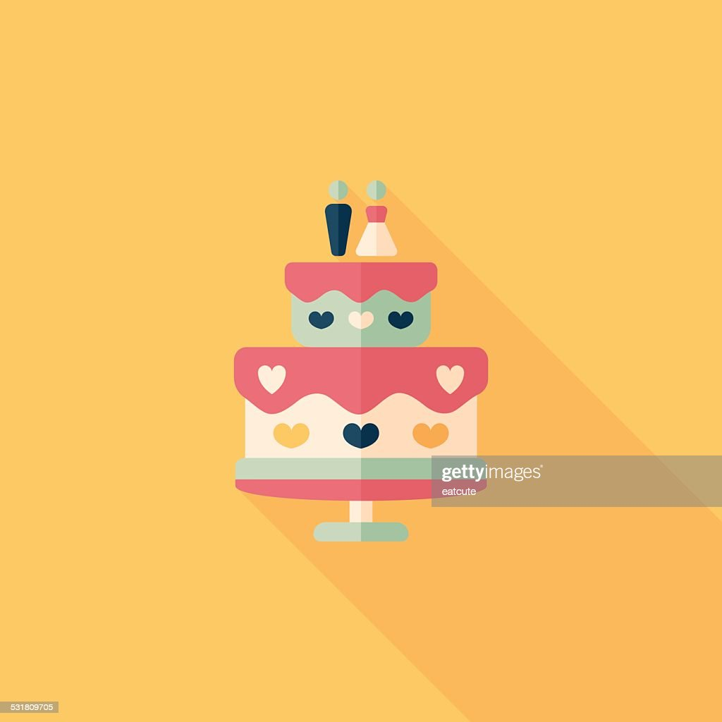 Wedding Cake Flat Icon With Long Shadoweps10 Vector Art   Getty Images