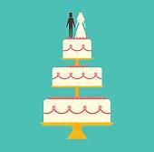 Wedding cake Isolated on background vector illustration