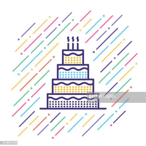 wedding cake line icon - wedding cake stock illustrations