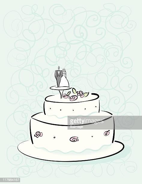 wedding cake - wedding cake stock illustrations