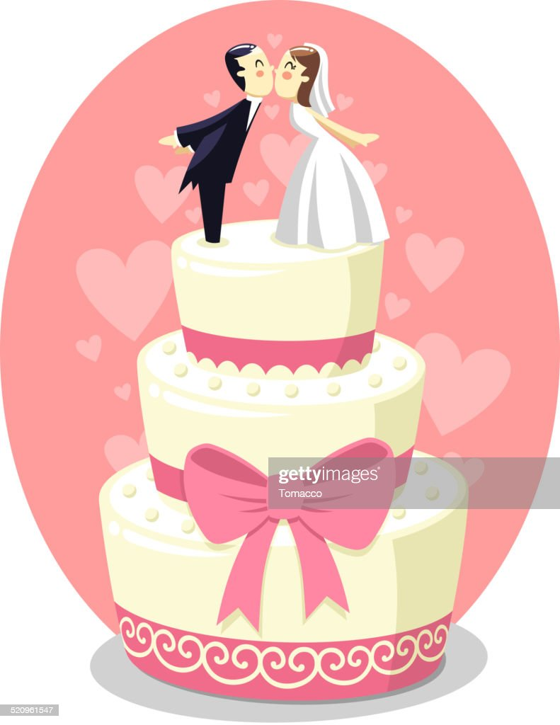 Wedding Cake With Bride And Groom Figurines Vector Art | Getty Images