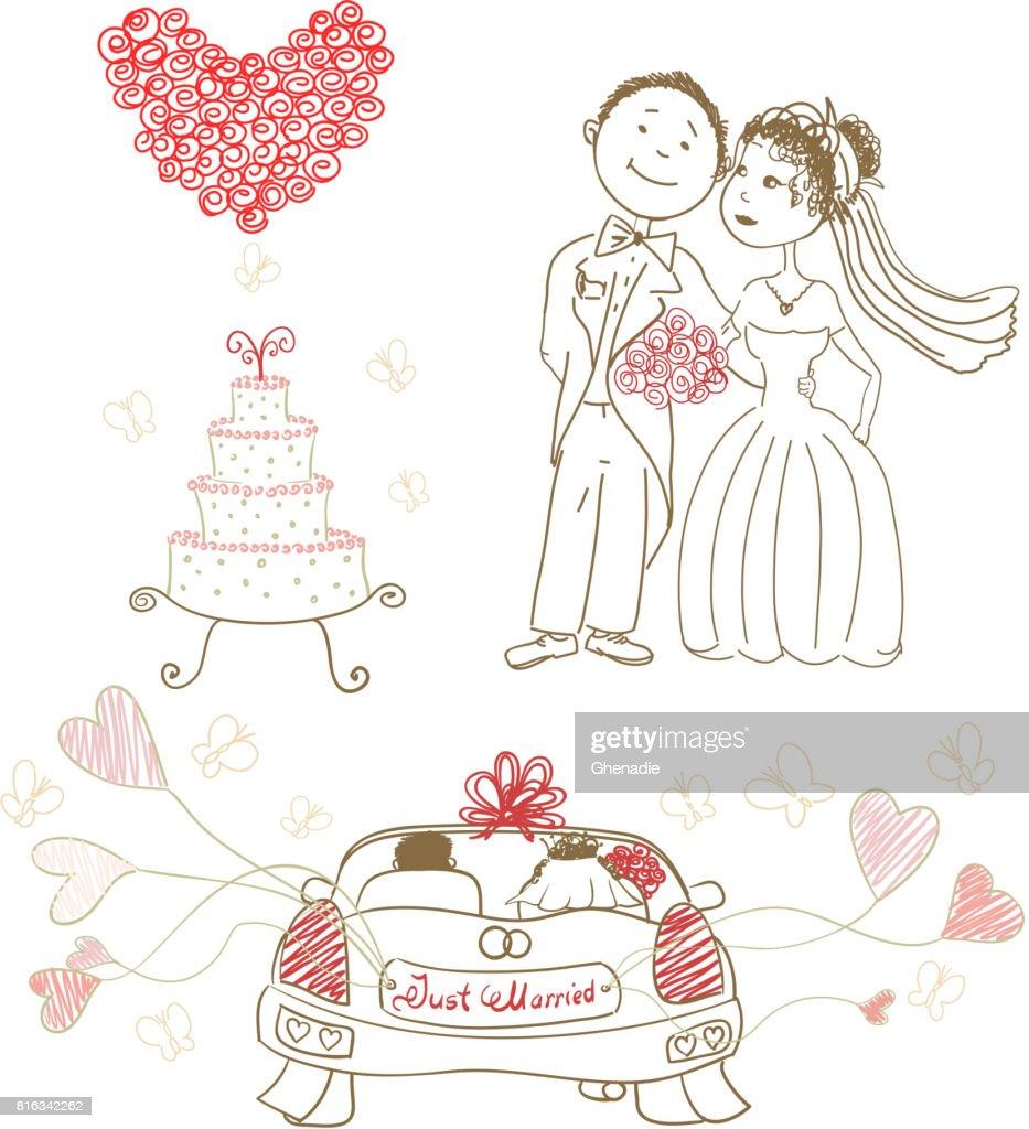 Just Married Hochzeitstorte Mit Schmetterlingen Gluckliche Braut Und